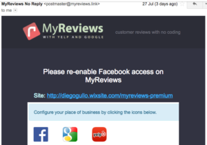 Email notification if Facebook Access is Disabled on MyReviews