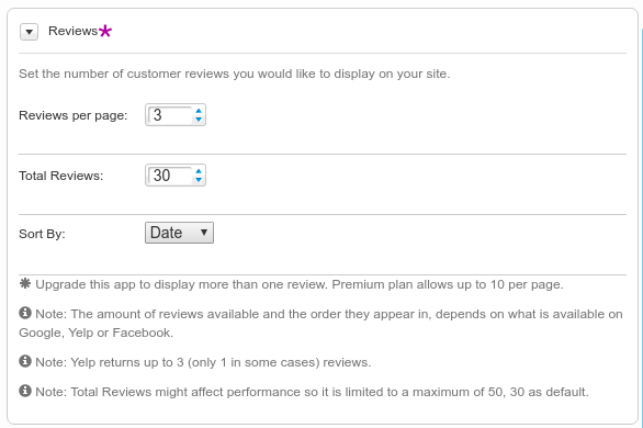MyReviews Review configuration sections in the application settings.